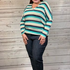 Longsleeve V Neck Stripes Top - Plus Size